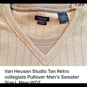 Van Huesen Tan V-neck Retro sweater L NEW WOT